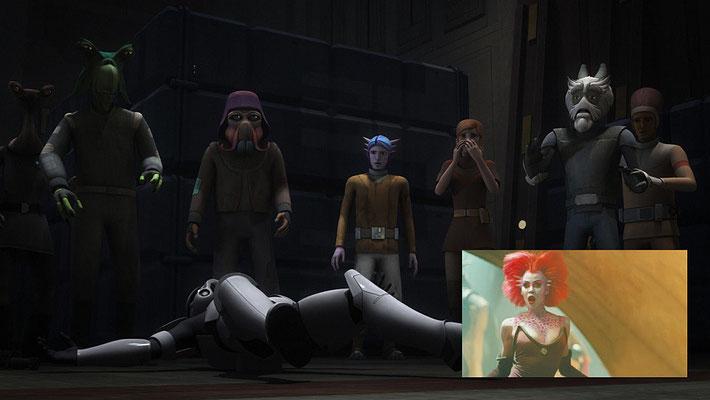 """Unter den Gefangenen befindet sich ein männlicher Theelin zu sehen. Weibliche waren bisher in """"Die Rückkehr der Jedi-Ritter"""" (Rystáll Sant), The Clone Wars (Latts Razzi) und Star Wars Rebels (Gooti Terez) zu sehen."""