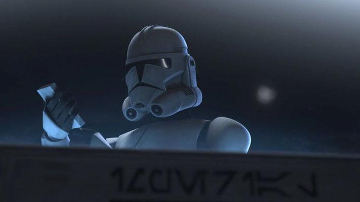 """Die Aurabesh-Beschriftung an dem imperialen Checkpoint bedeutet """"Imperial Informational Station"""""""