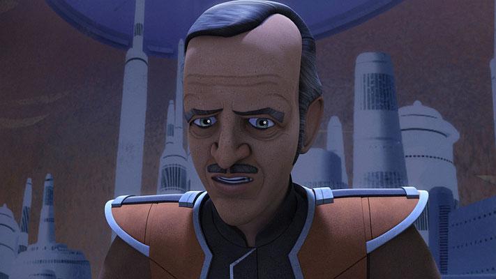 """In dieser Episode kehrt Senator Trayvis zurück. Er war erstmals in der Episode """"Der Aufstieg der alten Meister"""" in einer Holonetübertragung zu sehen."""