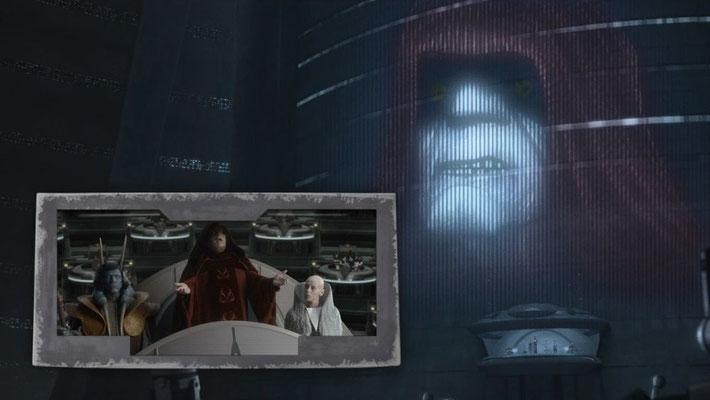 Beim Ausruf des Galaktischen Imperiums ist der Originaltext von Palpatine aus Episode III – Die Rache der Sith zu hören.