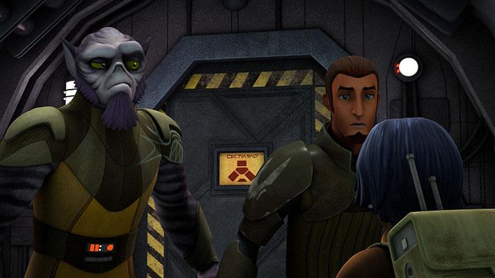 Das Gefahrenschild auf der Tür basiert auf dem Schild an der Tür in Episode V, die ein Wampa einschließt.