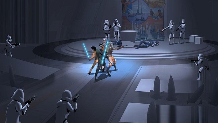 Digitale Zeichnung: Die Rebellen werden von den Sturmtruppen umzingelt