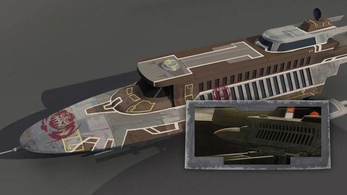 """Auf dem Tisch des Dock-Besitzers ist das Modell eines SoroSuub Shuttles zu sehen. Eines dieser Schiffe war Lando Calrissians """"Lady Luck"""" in Star Wars Rebels"""