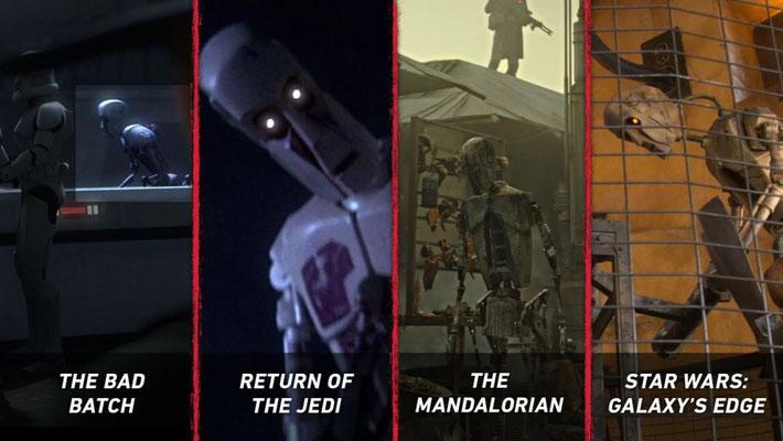 Die 8D-Droiden sind allgegenwärtig. Sie waren bereits in Die Rückkehr der Jedi-Ritter und The Mandalorian Kapitel 13 und sind zudem in Star Wars_ Galaxy´s Edge zu bewundern