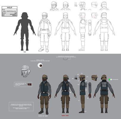 männlicher Rebellensoldat / Konzeptzeichnung von Kilian Plunkett