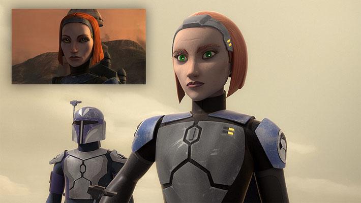 In dieser Episode kehrt Kate Sackhoff als Stimme von Bo-Katan zurück. Sie hatte den Charakter zuletzt in The Clone Wars gesprochen