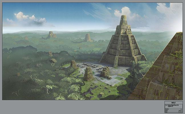 Rebellenbasis auf Yavin IV / Konzeptzeichnung von Andre Kirk