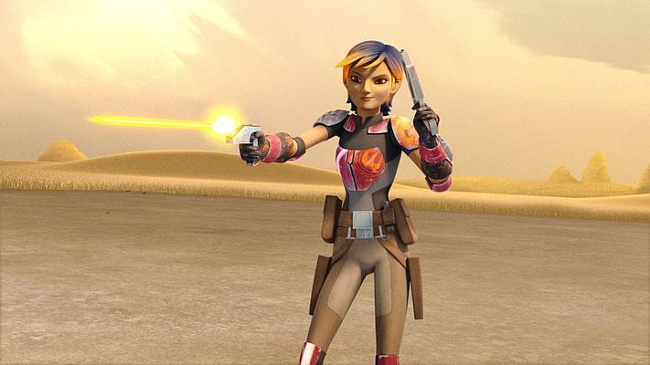 Bei Ezras Lichtschwerttraining verschießen die Crewmitglieder Trainingsgeschosse, die in der Farbe denen aus Episode IV gleichen.