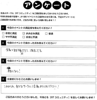 相席カフェイベント参加者アンケート4