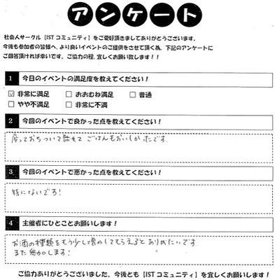 相席カフェイベント参加者アンケート2