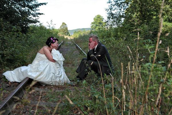 auch Abstellgleise im Hochzeitsshooting können fotogen sein