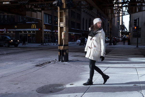 Fashionshooting mit Ellen in Chicago, S Franklin St.