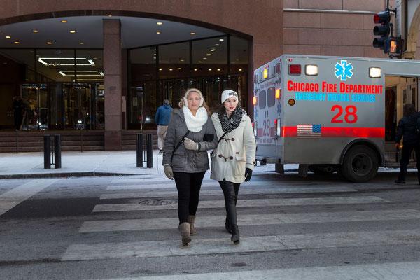Fotoshooting mit Ellen in Chicago mit Freundin, Jackson Blvd.