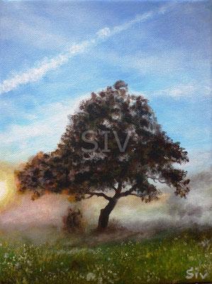 (*) Morgennebel, 24x18 cm, Acryl auf Leinwand