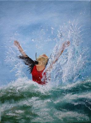 Swimming, 40x30 cm, Acryl auf Leinwand