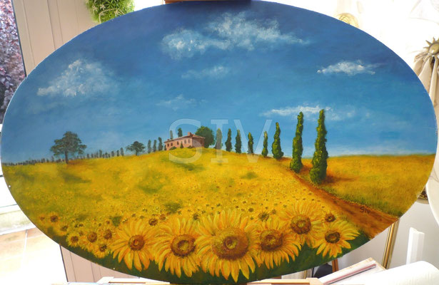 Geliebte Toskana, 50x80 cm ( im Rahmen 62x92 cm, Pinie), Acryl auf Sperrholzplatte