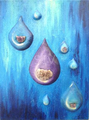 Die 4 Elemente - Wasser, 40x30 cm, Acryl und Amethyst auf Leinwand