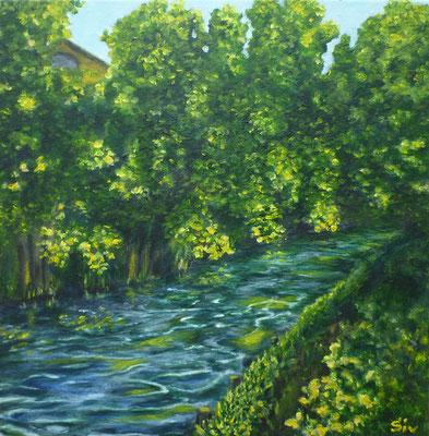 (*) Mühlenfließ im Frühling, 40x40 cm, Acryl auf Leinwand