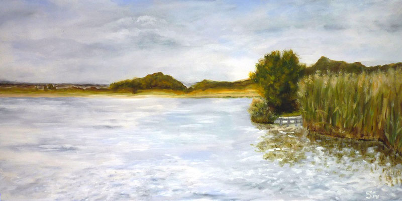 (*) Am Zierker See, 30x60 cm, Acryl auf Leinwand