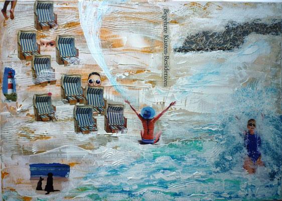 Begehrte Küsten Residenzen, 50x70 cm, Collage mit Acryl auf Leinwand
