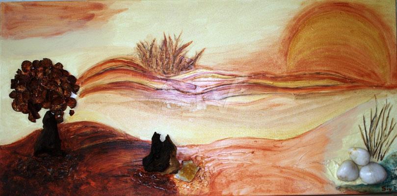 (*) Abend am See, 40x80 cm, Acryl Holz, Citrin und Marmor auf Leinwand