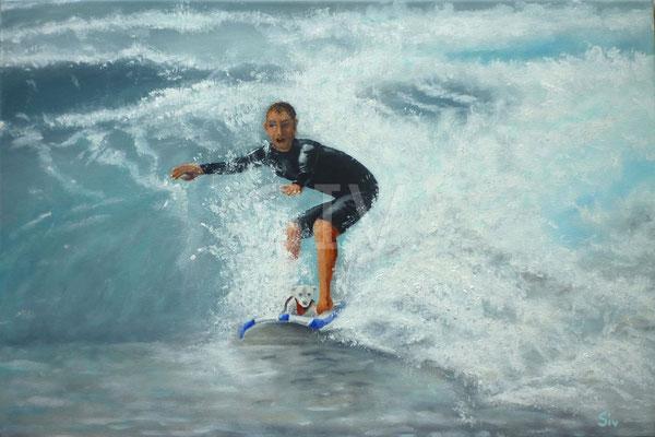 Surfing with a friend, 40 x 60 cm, Acryl auf Leinwand