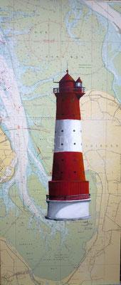 (*) Leuchtturm Arngast, 80x30 cm, Acryl auf alter Seekarte
