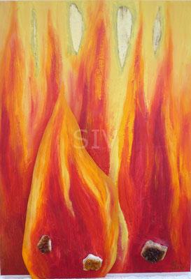 (*) Citrin Feuer, 70x50 cm, Acryl, Kunststoffplatte und Citrin auf Leinwand