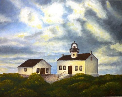 Haus mit Leuchtfeuer, 40x50 cm, Acryl auf Leinwand