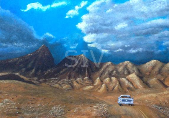 (*) Route 66 - Hügelland Arizonas, 70x100 cm, Acryl auf Leinwand