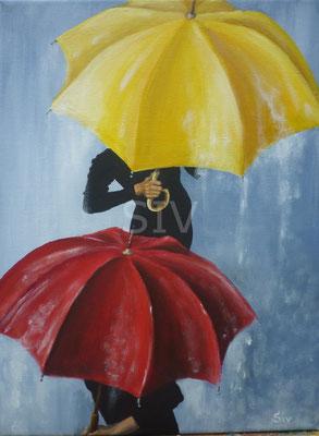 (*) Heiter teilweise Regen, 40x30 cm, Acryl auf Leinwand
