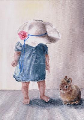 """(*) """"Mädchen mit dem Hasen""""  30x24 cm, Acryl auf Leinwand"""