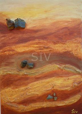 (*) Schatzkammer Erde, 70x50 cm, Acryl, Tigerauge, Falkenauge, Pyrit und Kiesel auf Leinwand
