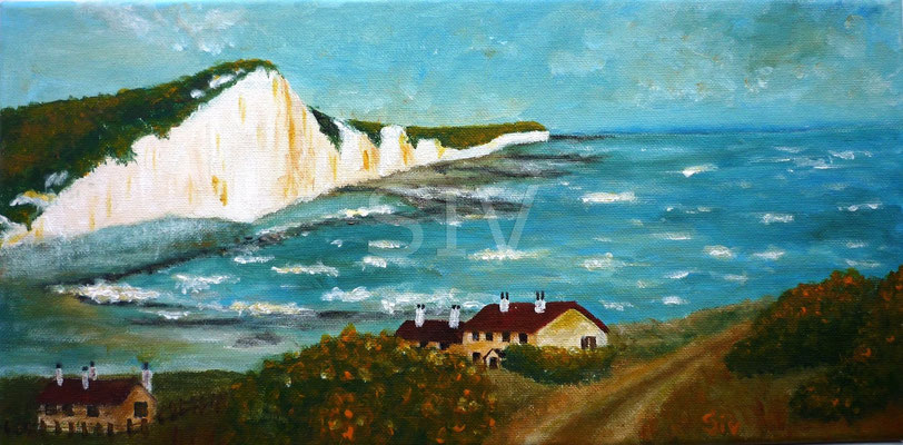 (*) Abendstimmung Kent England, 30x50 cm, Acryl auf Leinwand