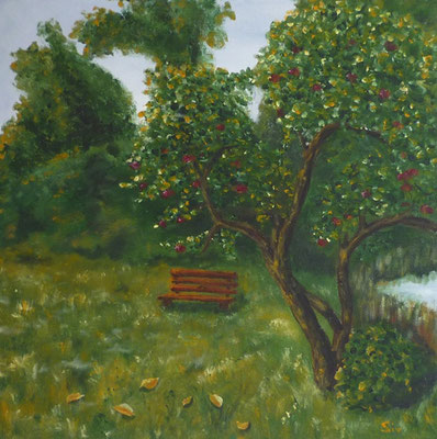 Apfelbaum, 40x40 cm, Acryl auf Leinwand