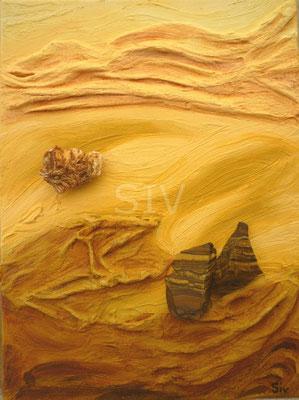 Die 4 Elemente - Erde,  40x30 cm, Acryl, Tigerauge und Vanadinit auf Leinwand