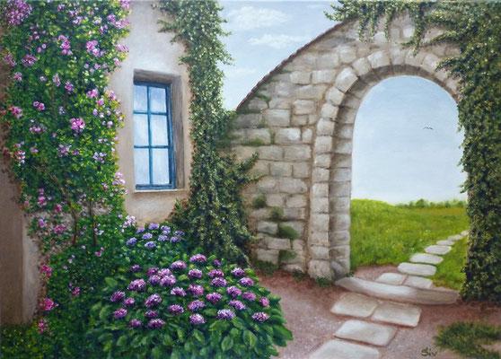 (*) Paradies hinter der Mauer, 50x70 cm, Acryl auf Leinwand