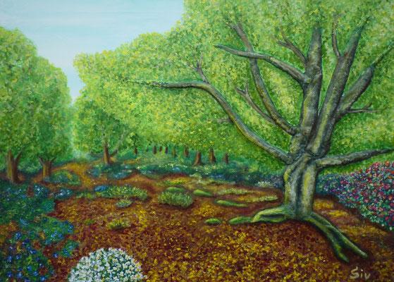 Laubwald im Frühling, 50x70 cm, Acryl und Fimo auf Leinwand