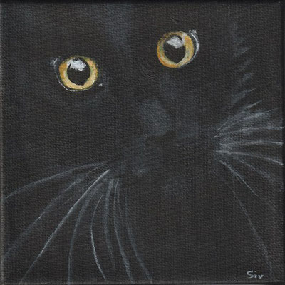 Minou, 15x15 cm, Acryl auf Leinwand
