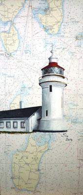 (*) Leuchtturm Sletterhage, Dänemark, 80x30 cm, Acryl auf alter Seekarte