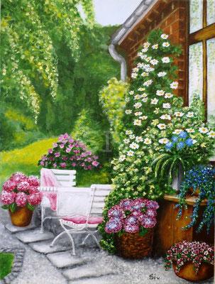 (*) Kühles Plätzchen hinter dem Haus, 40x30 cm, Acryl auf Leinwand