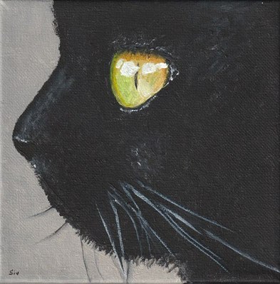 (*) Kitty, 15x15 cm, Acryl auf Leinwand