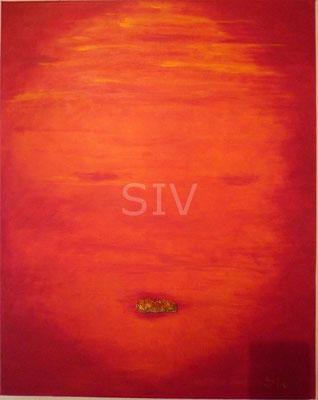 Abendsonne,50x40 cm, Acryl und Vanadinit auf Leinwand