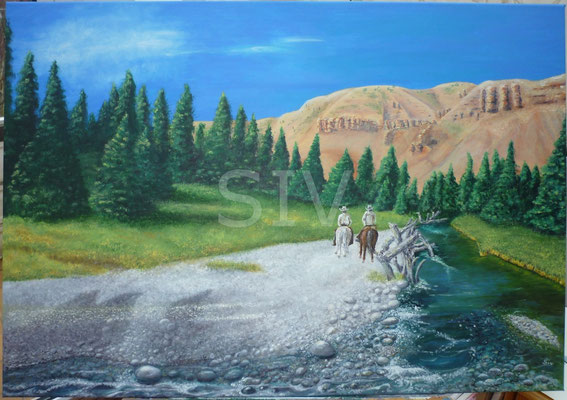 (*) Cowboyland Wyoming USA, 70x100 cm, Acryl auf Leinwand