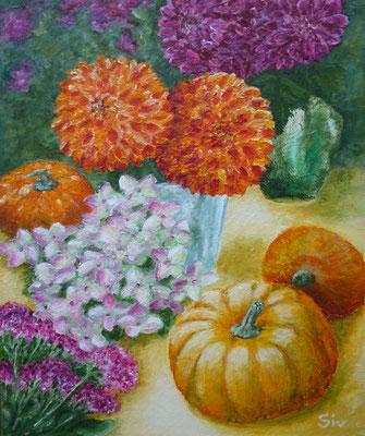 Flowers & Pumpkins 46x38 cm, Acryl auf Hartfaserplatte