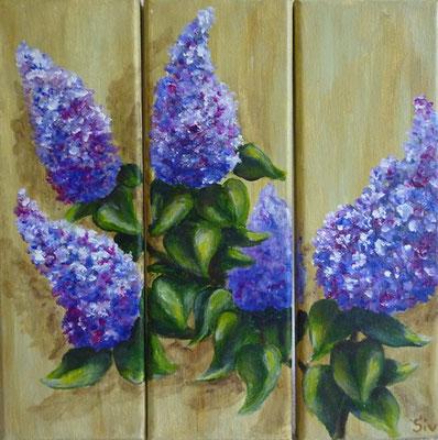 (*) Flieder, Triptychon je 30x10 cm, Acryl auf Leinwand