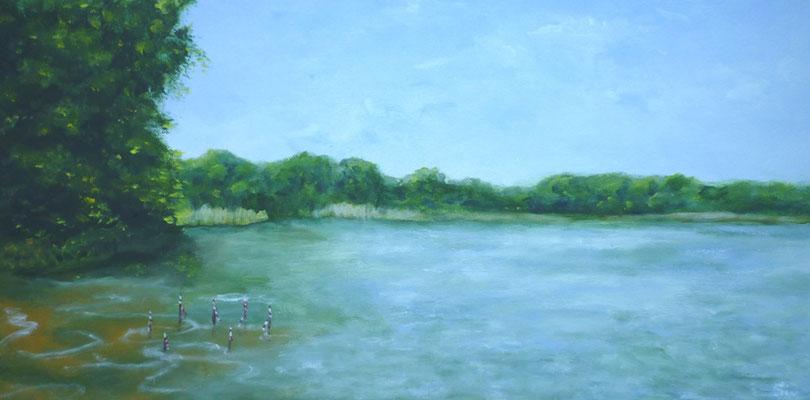 Am See, 30x60 cm, Acryl auf Leinwand