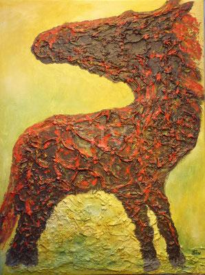 Cavallo focoso, 80x60 cm, Acryl auf Leinwand, Reliefstruktur