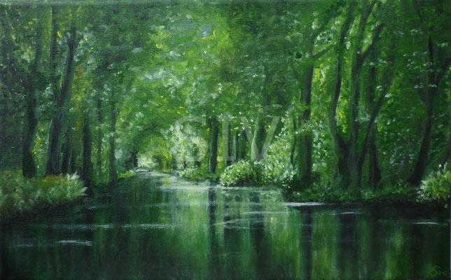 (*) Spreewald, 30 x 40 cm, Acryl auf Leinwand