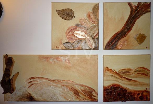 (*) Die Erschaffung des Holzes aus Feuer, Wasser,Luft und Erde, 3 St.20x20 cm und 20x40 cm, Acryl auf Leinwand